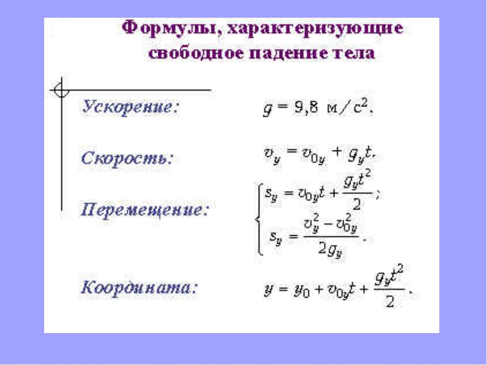 скорость свободного падения формула нашем