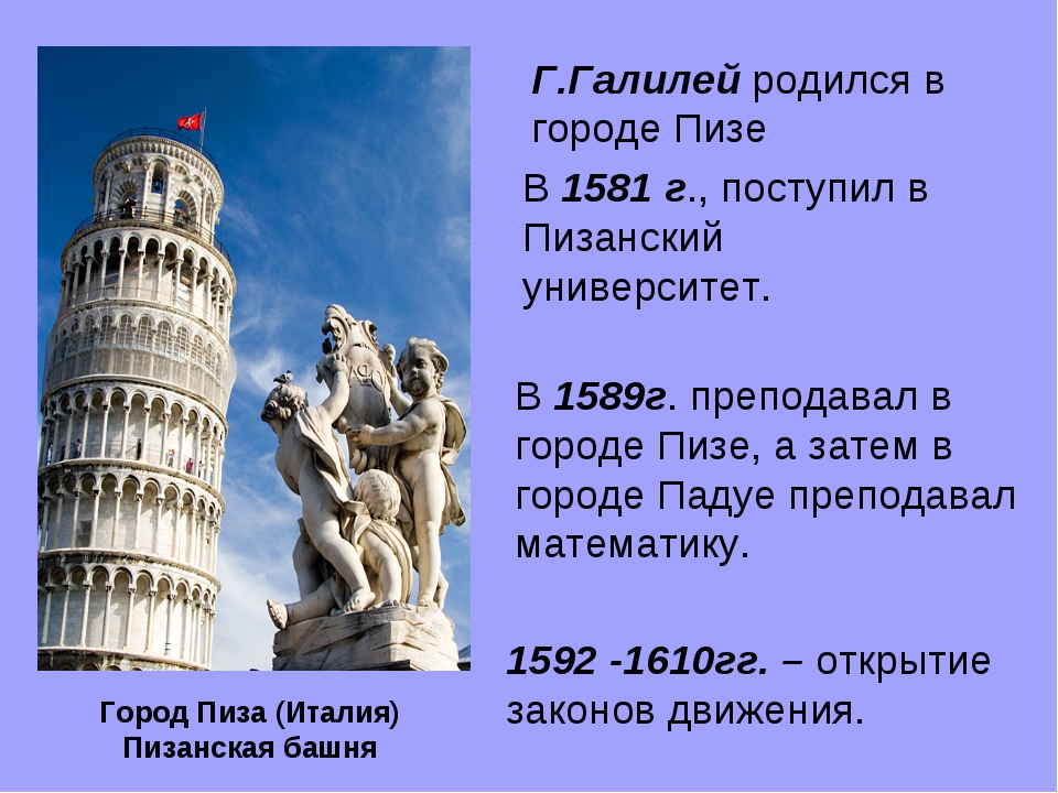 1592 -1610гг. – открытие законов движения. Г.Галилей родился в городе Пизе В...