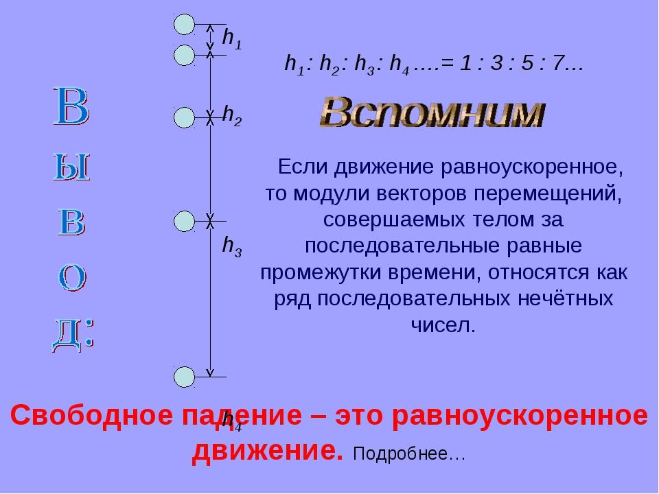 Свободное падение – это равноускоренное движение. Подробнее… h1 h2 h3 h4 h1 :...
