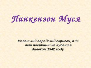 Пинкензон Муся Маленький еврейский скрипач, в 11 лет погибший на Кубани в дал