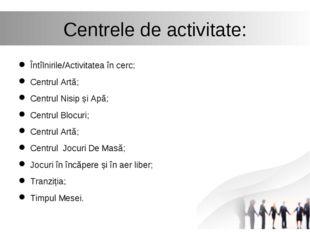 Centrele de activitate: Întîlnirile/Activitatea în cerc; Centrul Artă; Centru