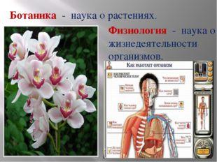 Ботаника - наука о растениях. Физиология - наука о жизнедеятельности организм