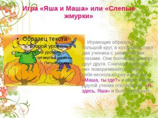 Игра «Яша и Маша» или «Слепые жмурки» Играющие образуют большой круг, в котор