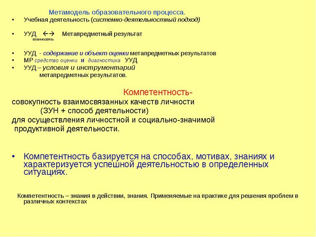 Метамодель образовательного процесса. Учебная деятельность (системно-деятель...
