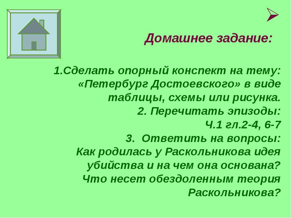 Домашнее задание: 1.Сделать опорный конспект на тему: «Петербург Достоевског...