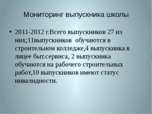 Мониторинг выпускника школы 2011-2012 г.Всего выпускников 27 из них;11выпускн