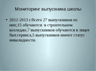 Мониторинг выпускника школы 2012-2013 г.Всего 27 выпускников из них;15 обучаю