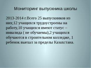 Мониторинг выпускника школы 2013-2014 г.Всего 25 выпускников из них;12 учащих