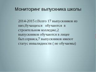 Мониторинг выпускника школы 2014-2015 г.Всего 17 выпускников из них;8учащихся