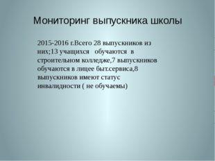 Мониторинг выпускника школы 2015-2016 г.Всего 28 выпускников из них;13 учащих