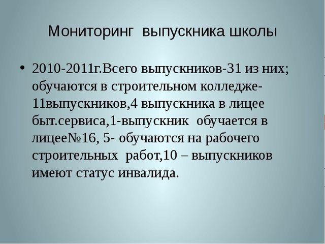 Мониторинг выпускника школы 2010-2011г.Всего выпускников-31 из них; обучаются...