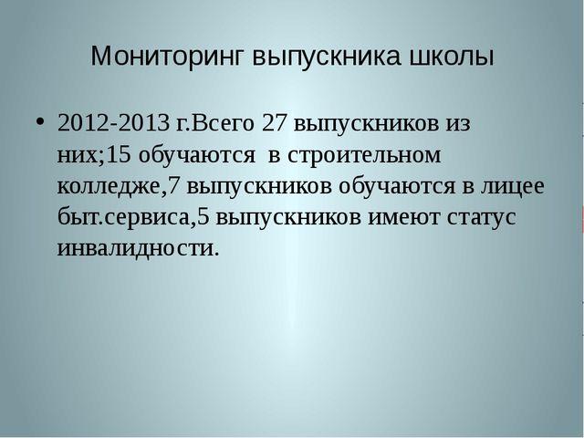 Мониторинг выпускника школы 2012-2013 г.Всего 27 выпускников из них;15 обучаю...