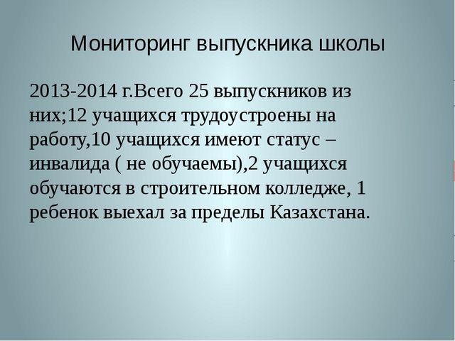 Мониторинг выпускника школы 2013-2014 г.Всего 25 выпускников из них;12 учащих...