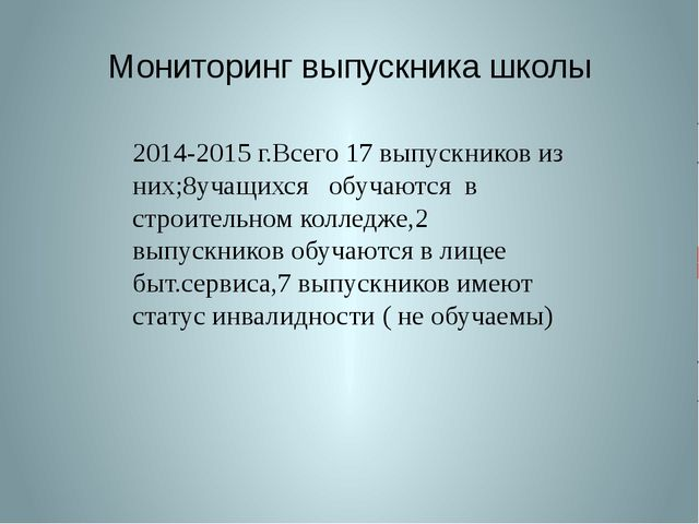 Мониторинг выпускника школы 2014-2015 г.Всего 17 выпускников из них;8учащихся...