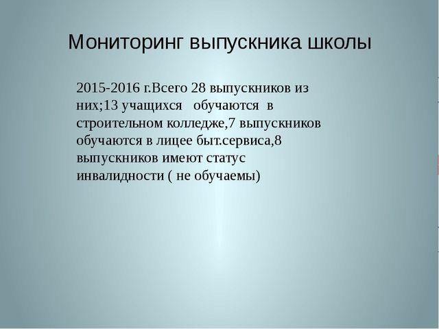 Мониторинг выпускника школы 2015-2016 г.Всего 28 выпускников из них;13 учащих...