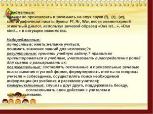 Предметные: адекватно произносить и различать на слух звуки (f), (r), (w), к