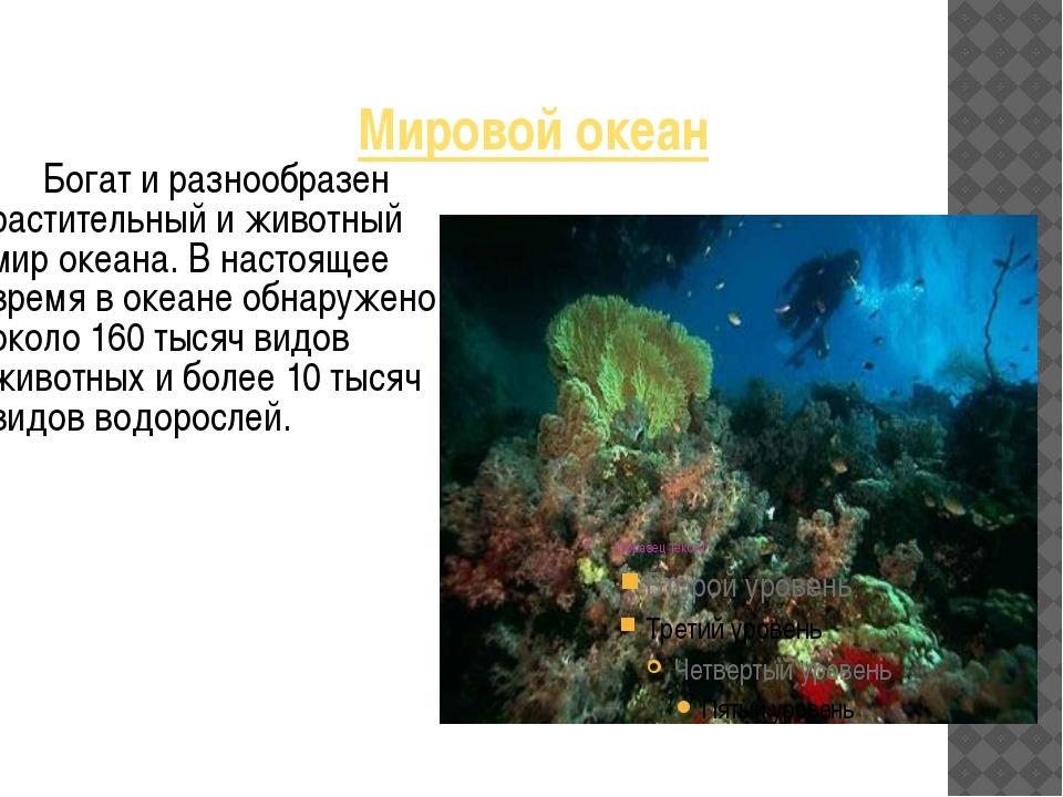 Мировой океан Богат и разнообразен растительный и животный мир океана. В наст...