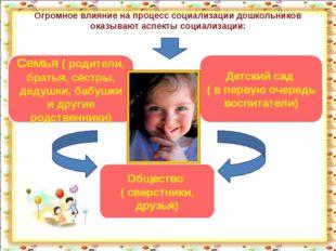 Огромное влияние на процесс социализации дошкольников оказывают аспекты социа