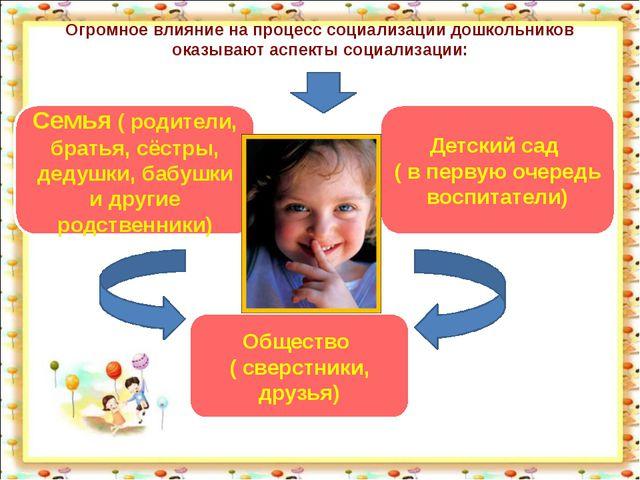 Огромное влияние на процесс социализации дошкольников оказывают аспекты социа...