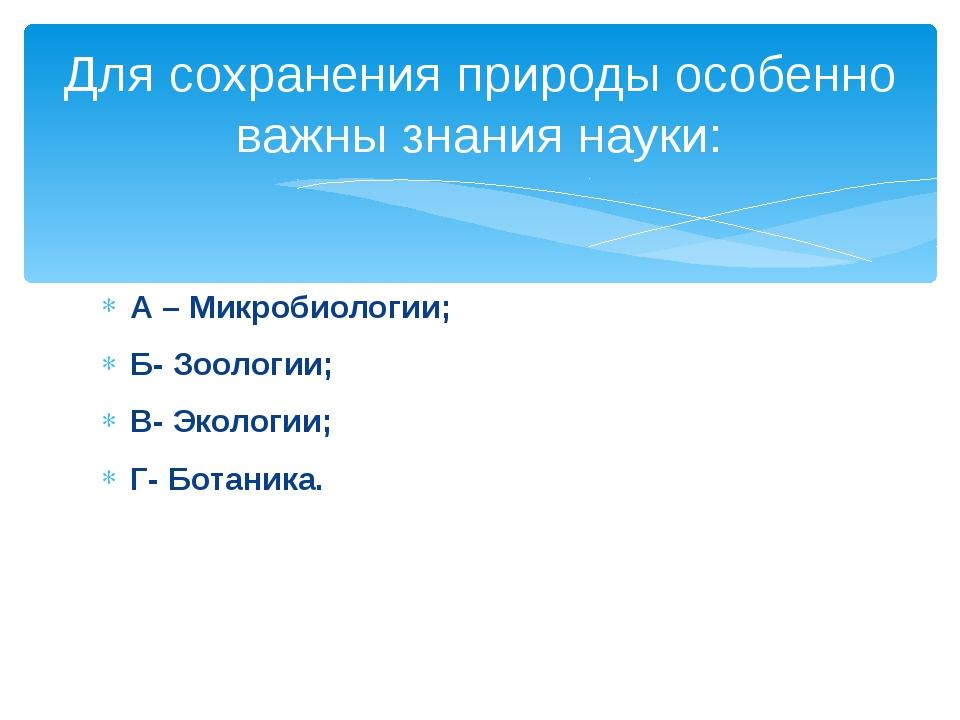 А – Микробиологии; Б- Зоологии; В- Экологии; Г- Ботаника. Для сохранения прир...