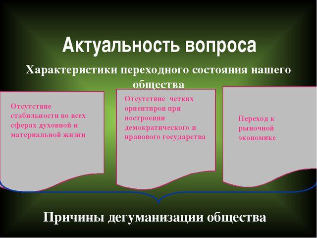 Актуальность вопроса Характеристики переходного состояния нашего общества От...