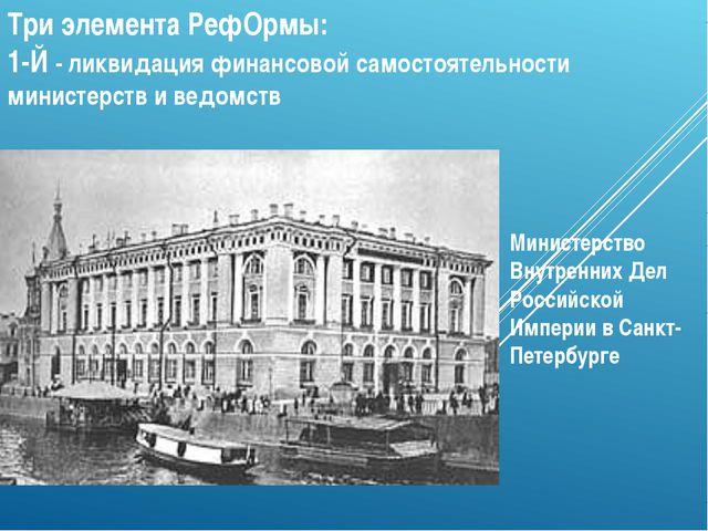 Три элемента РефОрмы: 1-Й - ликвидация финансовой самостоятельности министерс...