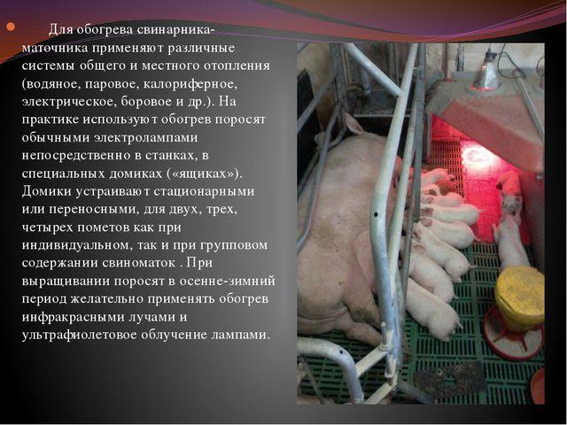 Для обогрева свинарника-маточника применяют различные системы общего и местн...
