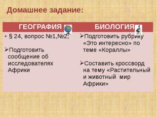Домашнее задание: ГЕОГРАФИЯ БИОЛОГИЯ § 24,вопрос №1,№2; Подготовить сообщение