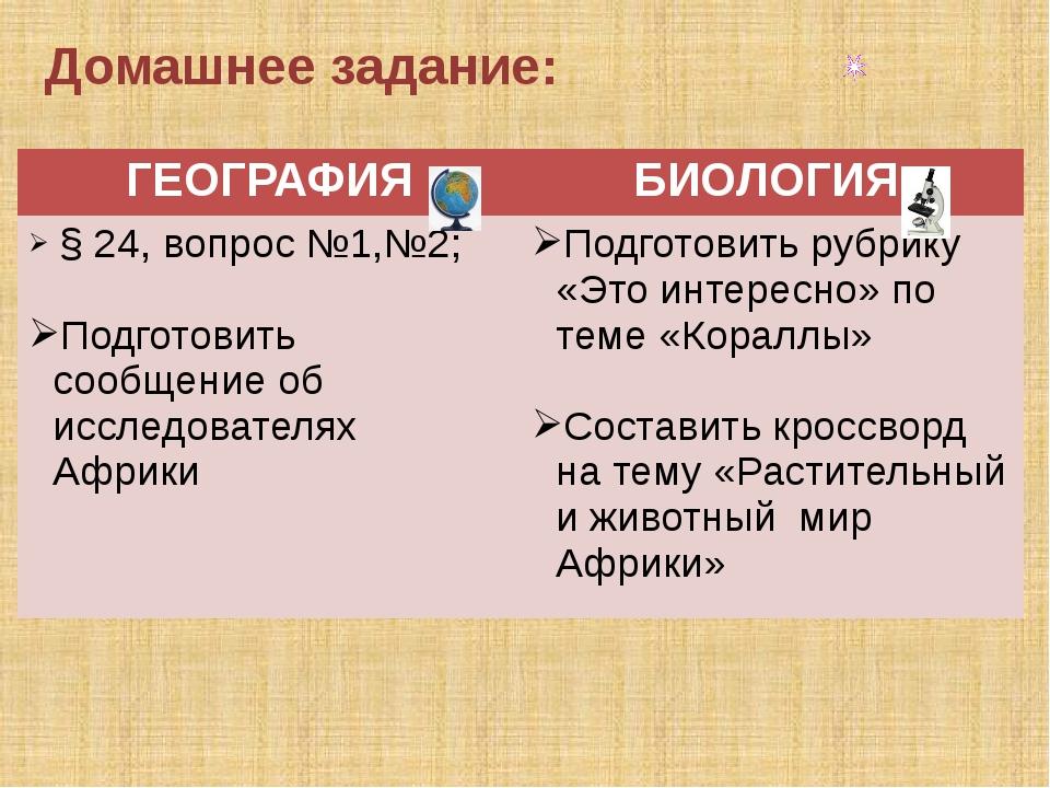 Домашнее задание: ГЕОГРАФИЯ БИОЛОГИЯ § 24,вопрос №1,№2; Подготовить сообщение...