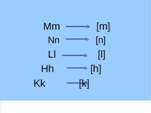 Mm [m] Nn [n] Ll [l] Hh [h] Kk [k]
