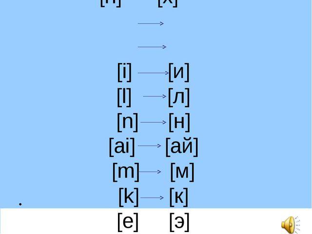 [h] [х] [i] [и] [l] [л] [n] [н] [ai] [ай] [m] [м] [k] [к] [e] [э]