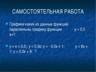 САМОСТОЯТЕЛЬНАЯ РАБОТА Графики каких из данных функций параллельны графику ф