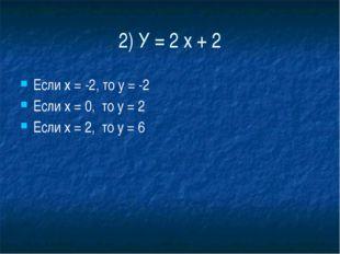 2) У = 2 х + 2 Если х = -2, то у = -2 Если х = 0,  то у = 2 Если х = 2,  т
