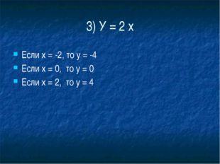 3) У = 2 х Если х = -2, то у = -4 Если х = 0,  то у = 0 Если х = 2,  то у = 4