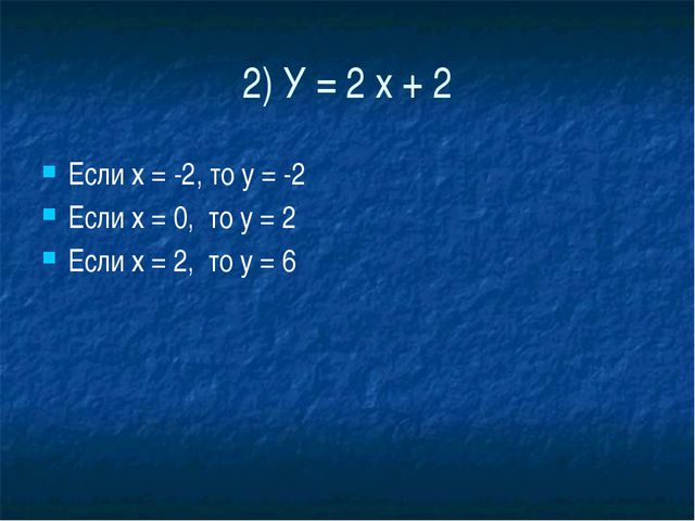 2) У = 2 х + 2 Если х = -2, то у = -2 Если х = 0,  то у = 2 Если х = 2,  т...