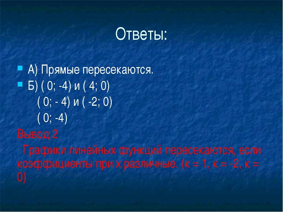 Ответы: А) Прямые пересекаются. Б) ( 0; -4) и ( 4; 0)        ( 0; - 4) и (...