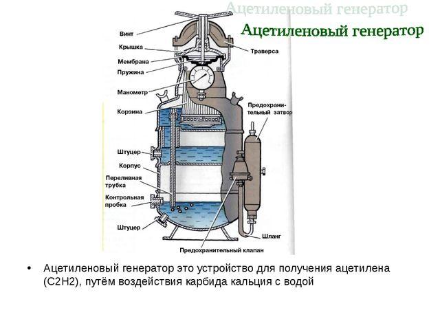 Ацетиленовый генератор это устройство для получения ацетилена (С2Н2), путём в...