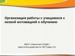 Организация работы с учащимися с низкой мотивацией к обучению МБОУ «Зоркинска
