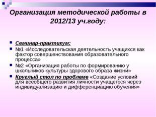 Организация методической работы в 2012/13 уч.году: Семинар-практикум: №1 «Исс