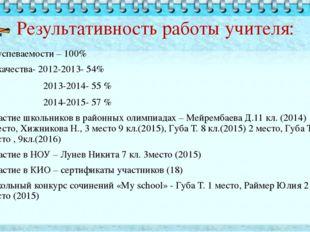 Результативность работы учителя: % успеваемости – 100% % качества- 2012-2013-