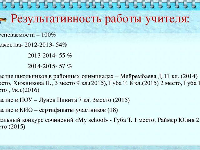 Результативность работы учителя: % успеваемости – 100% % качества- 2012-2013-...