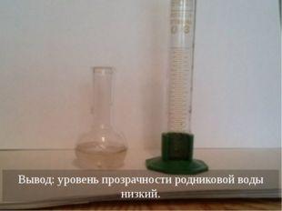Вывод: уровень прозрачности родниковой воды низкий.