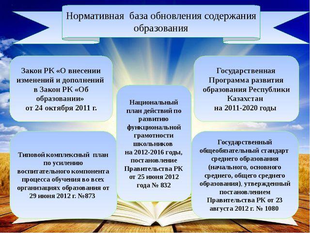 Нормативная база обновления содержания образования Закон РК «О внесении изме...