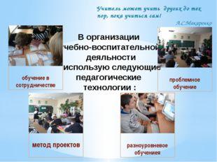 В организации учебно-воспитательной деяльности использую следующие педагогиче