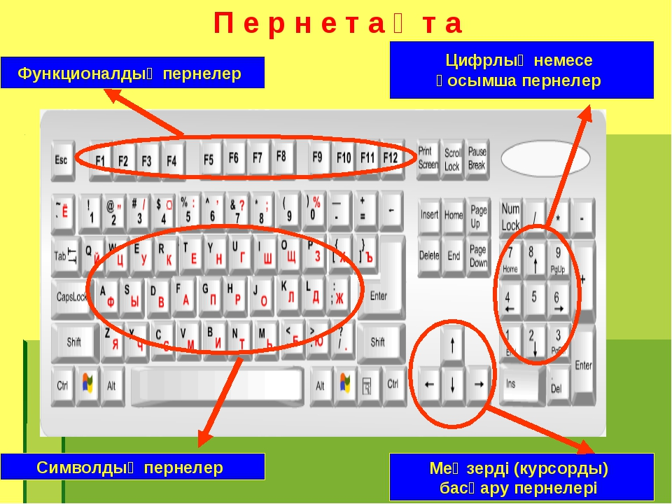 П е р н е т а қ т а Функционалдық пернелер Цифрлық немесе қосымша пернелер Си...