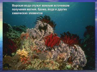 Морская вода служит важным источником получения магния, брома, йода и других