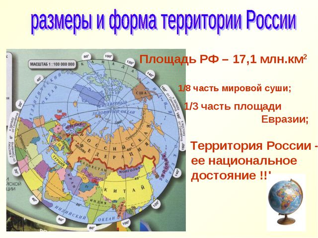 Площадь РФ – 17,1 млн.км2 1/8 часть мировой суши; 1/3 часть площади Евразии;...