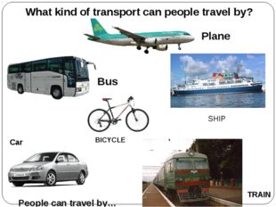 Bus Plane Car BICYCLE SHIP TRAIN What kind of transport can people travel by?