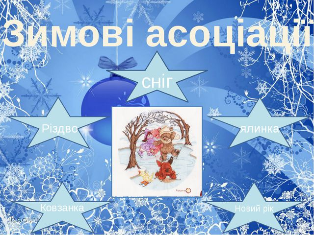 Зимові асоціації сніг ялинка Новий рік Різдво Ковзанка