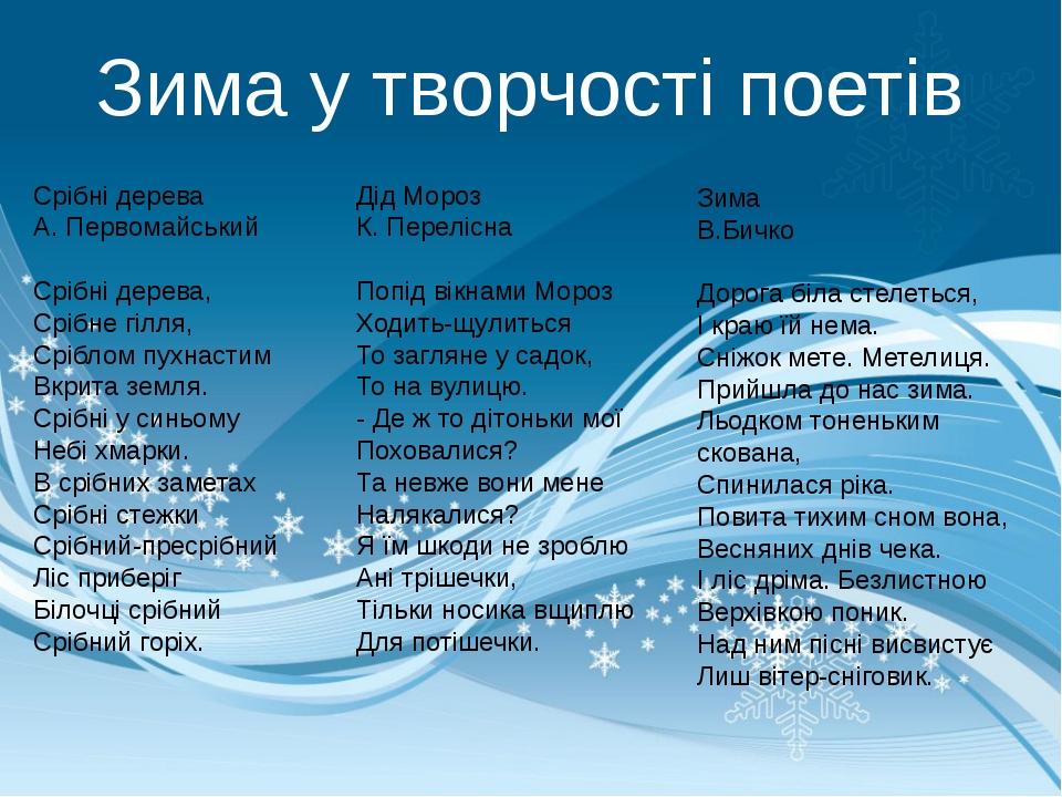 Зима у творчості поетів Срібні дерева А. Первомайський Срібні дерева, Срібне...